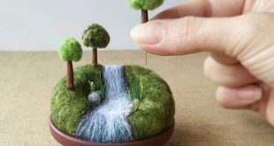 Playscape for Grown-ups Miniature Woodland Landscape, Mini Trees, Outdoors Nature Gift River Stream Waterfall, Pincushion Pin Cushion