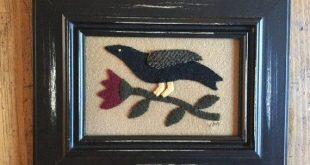 Primitive Folk Art Framed Bird/Crow and Flower Wool Applique Penny Rug