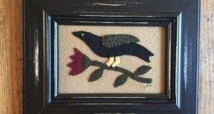 Primitive Folk Art Framed Bird/Crow and Flower Wool Applique Penny Rug