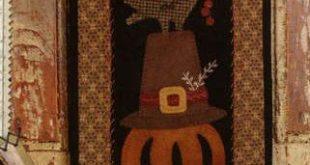 Primitive Folk Art Wool Applique Pattern - Basin Banners Thru the Year - November Pilgrim Hat & Pumpkin