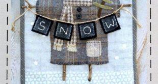 Primitive Folk Art Wool Applique Pattern: CLOTHESLINE SNOWMAN   Etsy  2019  Prim...