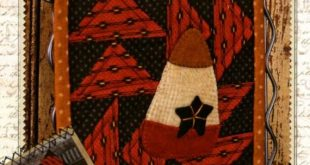 Primitive Folk Art Wool Applique Pattern - Sew Simple BOM - October Candy Corn ~ Buttermilk Basin