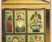 Primitive Folk Art Wool Applique Quilt Pattern:  SPIRIT OF AMERICA    Eight (8) ...