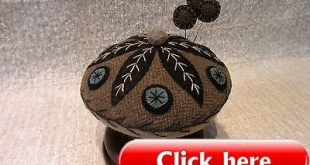 Primitive-Wool-Applique-Folk-Art-Pincushion-Wooden-Base-Make-Do-Pinkeep-USAPRIM ...