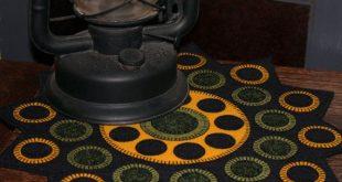 Rudbeckia Penny Rug, geometric design, Limited Edition Fibre Art, folk art, wool applique, fall sunflower, black and gold, table topper