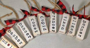 Set of 8 Farmhouse Christmas Word Ornaments