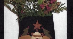 Snowman Christmas Bag Wool Applique would fit nicely on stocking (pattern $9; 20...