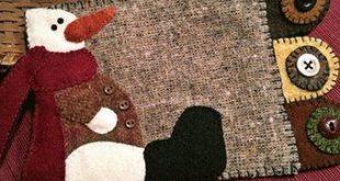 "Snowman Wool Applique Pillow Pattern - Snow Happy Pillow Pattern 8"" x 8"" BHD 2063"
