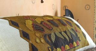 Stitch this bolster cover from Rebekah L. Smith's book, Seasons of Wool Appl...