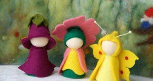 Summer 1. Set dragon Fly, foxglove, dandelion / Flower dollWaldorf Inspired natural Table wooden peg dolls