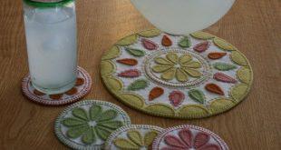 Summer Delight Penny Rug Pattern, drink coasters, juice jug mat, wool felt craft kit, summer decor, cottage decor, hostess gift, easy peasy
