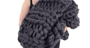 Super Chunky Knit Merino Blanket 40 x 58 Chunky Wool Blanket Merino Blanket Gian...