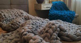 Super Giant Knit Blanket, Chunky Knit Blanket, Large Knit Blanket, Wool Blanket, Bulky Blanket, Bedr