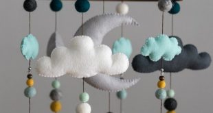 Teal Mustard Mint / Woodland Nursery / Felt Mobile / Mountain Nursery / Felt Moon / Woodland Mobile / Nursery Decor / Monochrome