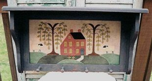 The Country Cupboard Folk Art Wool Applique Rug Hooking Penny Rug Pattern Saltbox and Willow Shelf Home Decor Pattern