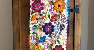 Tisch Bettläufer bestickt Peru aus weißem Alpaka Wolle handgefertigten Blumen ...