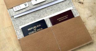 Travel-Organizer aus Wollfilz und Vegan Leder für Reisepass, Tickets, Kreditkar