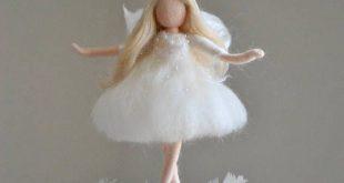Weiße Fee gefilzt Puppe Wolle Ornament: Fee auf die Feder