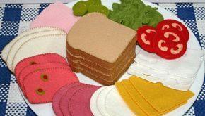 Wollfilz Spiel Essen - Deli Fleisch und Käse für Sandwiches Tee feiern oder Ge...