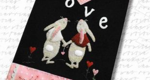 Wool Applique Pattern, Hare's Tale of Love, Valentine Decor, Crazy Quilted Heart, Wool Table Runner, Bunny, Love, Nutmeg Hare, PATTERN ONLY