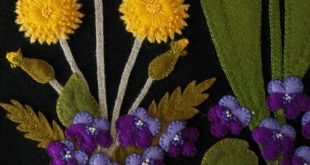 "Wool Applique Pattern Kit ""Dandy Springtime"" table runner tulips dandelions violets"