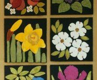 "Wool Applique Pattern Kit ""Red Trillium"" for ""The Four Seasons of Flowers"" BOM wool quilt"