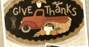 Wool Applique Pattern, Thanksgiving Pattern, Truck Wool Applique, Wool Candle Mat, Penny Rug Pattern, Fall Applique Pattern, PATTERN ONLY