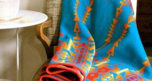 Wool Blanket Native American Design in Turquoise Blue Orange Yellow 2019 Wool ...