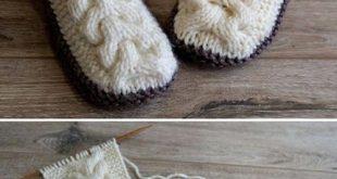 Wool Cable Slippers - Free Knitting Pattern (Amazing Knitting)