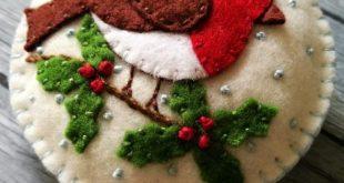 Wool Felt Robin Bird Christmas Ornament