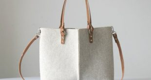 Wool Felt Tote Bag, Felt and Leather Bag, Leather Purse, Gift for Her, Bags and Purses, Messenger Bag
