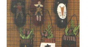 Wool Mitten Ornies- pattern- Primitive Gatherings by Lisa Bongean -Primitive, Wool Applique, precut friendly #138 - Ornaments, Christmas