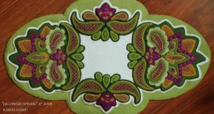 "Wool applique PATTERN KIT ""Jacobean Spring"" table runner hand dyed rug hooking wool felt felted wool fabric embroidery paisley 23 1/2"" x 14"""