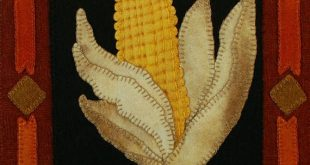 "Wool applique PATTERN &/or KIT ""Ready for Harvest"" from the series ""My Kitchen Garden"" hand dyed felted wool corn on the cob cornfield quilt"