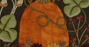 "Wool applique PDF e-PATTERN pumpkins ""The Far Corner of the Garden"" autumn fall penny rug table runner wall hanging rug hooking felted wool"