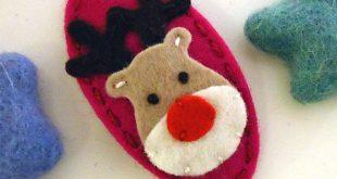 Wool felt hair clip -Santa father christmas -brown