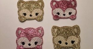 YOU CHOOSE COLOR Fox Pink Gold Glitter Magical Animals Embroidered Felt Applique