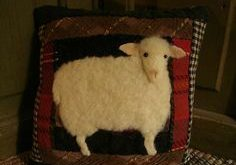 old quilt black sheep door pillow | Primitive Sheep On Old Quilt Pillow