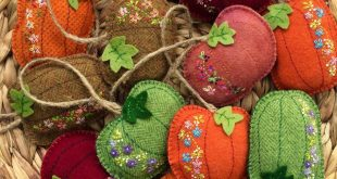 wool felt embroidered pumpkins